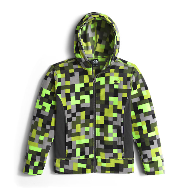CHEAP NORTH FACE BOYS' GLACIER FULL ZIP HOODIE SAFETY GREEN PIXEL PRINT ONLINE