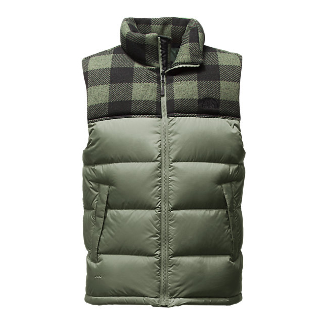 CHEAP NORTH FACE MEN'S NUPTSE VEST DUCK GREEN/DUCK GREEN GRIZZLY PRINT ONLINE